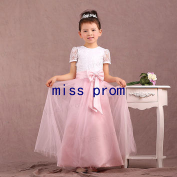 Lace and tulle with short sleeves floor-length with bow flower girl dress