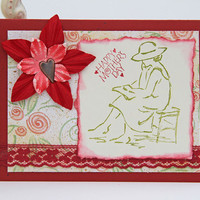 Mother's Day Card Reading Woman Notecard in Red And Green