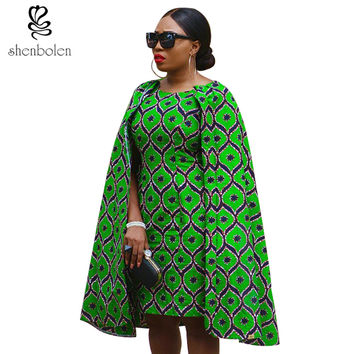 2016 autumn African dresses for women ankara clothing wax printing batik pure cotton fashion Cloak tippet dress Party Dress