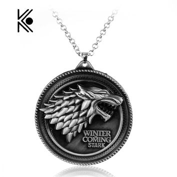 House Of Stark Wolf Alloy Pendant Necklace