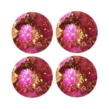"4"" Dia Pink Gold Agate Coasters Made From Recycled Rubber"