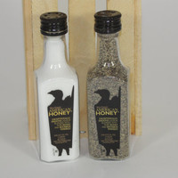 Wild Turkey American Honey Salt and Pepper Shaker, Upcycled Liquor Bottles