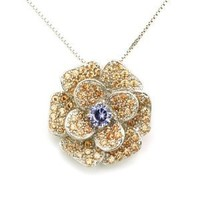 "925 Sterling Silver Yellow Topaz Color And Purple CZ Vintage Style Elegant Design Rose Necklace (16"")"