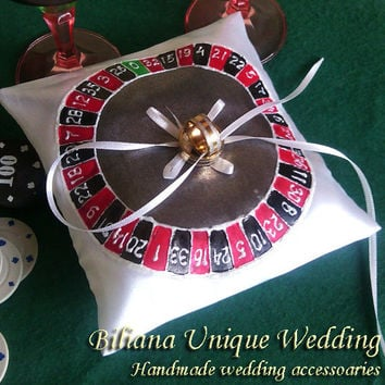 Hand painted Satin white ring bearer pillow Vegas Casino Roulette theme in black and red personalized wedding favor