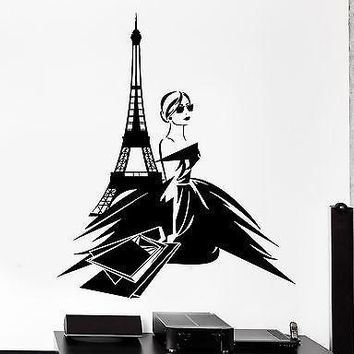 Wall Decal Paris France Sexy Girl Shopping Eiffel Tower Vinyl Decal Unique Gift (z3140)