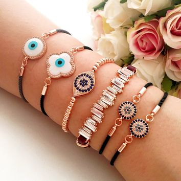 Evil eye bracelets, rose gold eye bracelet, baguette zirconia bracelet, clover evil eye bracelet, adjustable string bracelet, evil eye beads