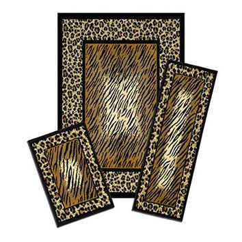 Lorraine Collection 3 Pc Area Rug Set Size: 5'x7' Rug 22 inch x59 inch  Runner 22 inch x31 inch  Mat - Leopard and Tiger