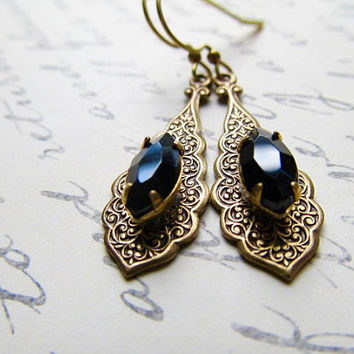 Gothic Earrings Art Deco Earrings Art Nouveau Earrings 1920s Earrings Marquis Earrings Black Earrings Jet Black Earrings-Bombay Nights