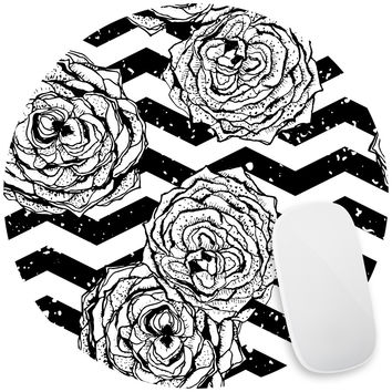 Chevron Hipster Flowers Mouse Pad Decal