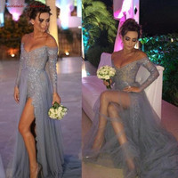 OPAL FERRIE - Prom Dresses 2017 Grey A line Long Sleeve Tulle Evening Gowns Elegant Slit Applique Sexy V neck Pageant Party Dress
