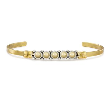 Cuff Bracelet in Crystal Champagne Pearl
