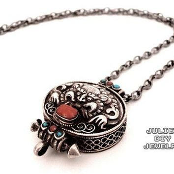 Tibetan style dragon silver prayer box necklace