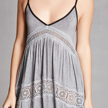 Crochet Trim Trapeze Dress