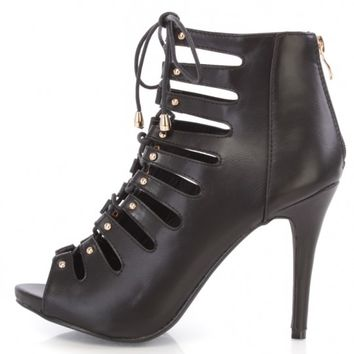 Black Lace Up Strappy Peep Toe Booties Faux Leather
