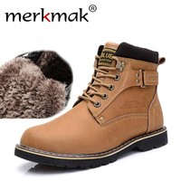 New 2017 Winter Mens Ankle Boots Casual Black PU Leather Boots For Men Shoes Fashion Work Fur Martin Boots Men Warm Winter Shoes