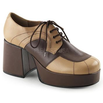 Pleaser Male 3 1/2 Inch Block Heel, 1 1/2 Inch Platform Two Tone Oxford Shoe JAZZ06