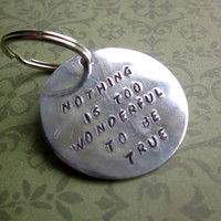 Custom Hand Stamped Large Aluminum Circle Keychain (Pick your own phrase and font)