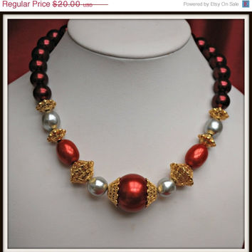 Vintage Napier Burgundy red and faux Pearl Bead necklace