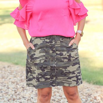 Haslet Button Down Skirt in Camo