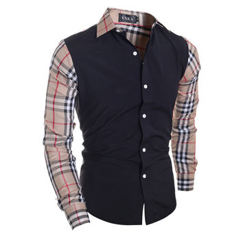 Winter Stylish Plaid Patchwork Men Slim Casual Long Sleeve Shirt [6544491587]