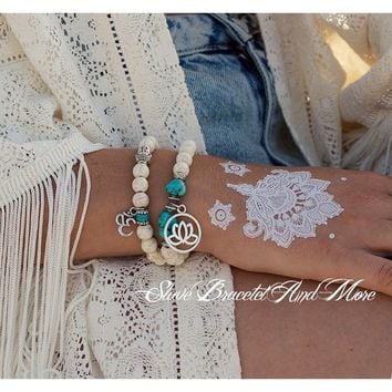 Set of Two Bracelets Hand Pieces Natural White Beads Antique Silver Buddha Lotus Ohm Pendant Bohemian Boho Chic Hippie Gypsy Sty