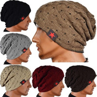 TOP Men women Winter Skull cool Knit Beanie Reversible Baggy Cap Warm Unisex Hat [9221944452]