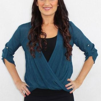 The Real Deal Faux Wrap Teal Top