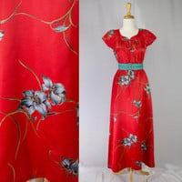 Vintage 1980's  Nani Hawaiian Dress Red Aloha Pin-up Dress