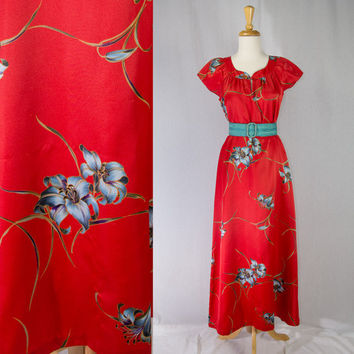 cdfc0ffc2a4a Vintage 1980's Nani Hawaiian Dress Red Aloha Pin-up Dress