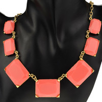 ** MAKE OFFER** New Peach Multi Rectangle Statement Necklace Independent Designer one size by Alisha's Fashion