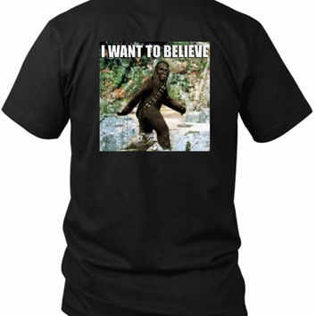 Star Wars Chewy In The Woods I Want To Believe 2 Sided Black Mens T Shirt