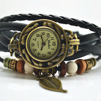 Steampunk wrist watch,leaf wrist watch with leater bacelet chain