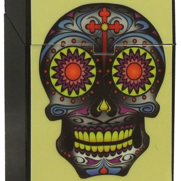 Sugar Skull Auto Open Cigarette Case Box for Regulars