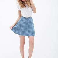 Dotted Denim Skater skirt