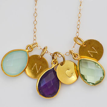 Personalized Natural Birthstone Necklace - three kids children mom mother bezel station initial charm handstamped gold  - Danique Collection