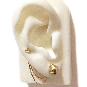 Convertible Solid 14K Gold Dangle Double Chain Earring Jacket {available in Yellow, White or Rose Gold}