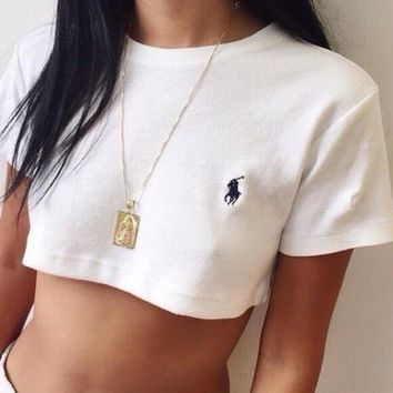 Polo Ralph Lauren Casual Round Neck Crop Top Shirt Tee Sweatshirt