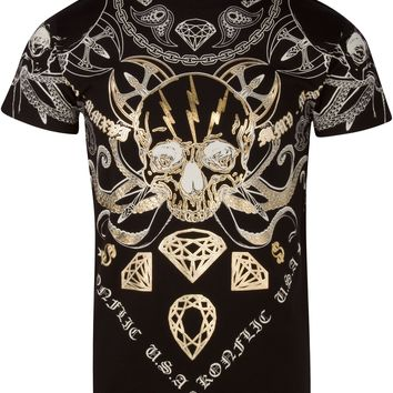 Sakkas Aksel Mens Essential Short Sleeve Cotton T-Shirt Diamond Skull & Tentacles