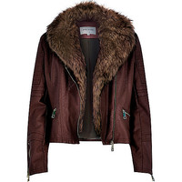 River Island Womens Dark brown leather-look faux fur biker jacket