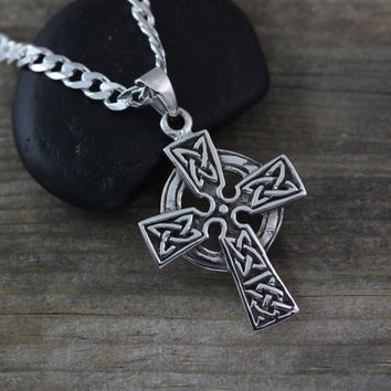 Celtic cross necklace,  Sterling silver Celtic Trinity Knots cross, Choose Your chain, mens Celtic Cross . Silver Cross, Boys Cross. 2168