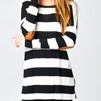 Black & White Stripe Suede Patchwork Sleeve Shirt