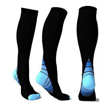 Meias masculinas Men Women Compression Socks blue Fit for Calcetin Knee High Breathable Socks Travel Boost Stamina Chaussette