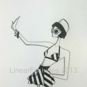 Fashion Illustration / 1960s Mod Swimsuit / pencil drawing / bathing beauty / pinup art / fashion art / original drawing / decor / art gift