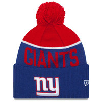 Men's New York Giants New Era Royal 2015 On-Field Sport Knit Hat with Pom