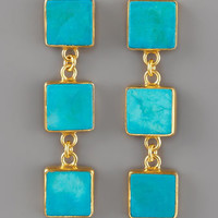 Triple-Drop Turquoise Earrings