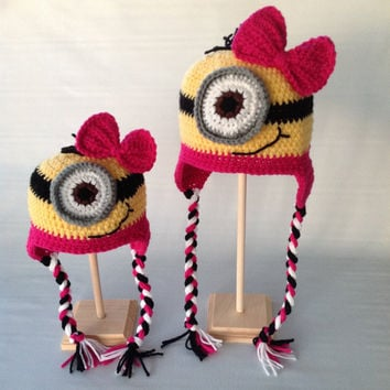 Pink Minion Hat - Minion Hat - Despicable Me Hat - Minion Beanie - Crochet