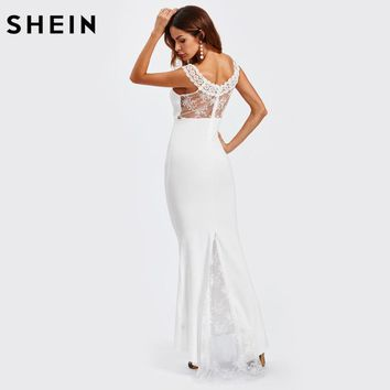 SHEIN Lace Insert Sheer Back Fishtail Dress White V Neck Short Sleeve Long Sexy Dresses Autumn Elegant Maxi Dress