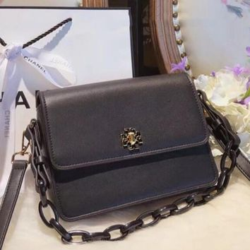 Tory Burch New Popular Women Shopping Bag Pure Color Leather Shoulder Bag Crossbody Satchel Black I-WXZ2H