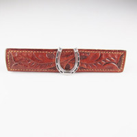 Vintage Tie Clip: Hickok Leather with Horseshoe