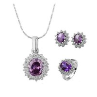 Gold Plated Swarovski Elements Crystal Cz Rhinestone Jewelry Sets Purple Necklace, Ring, Earrings